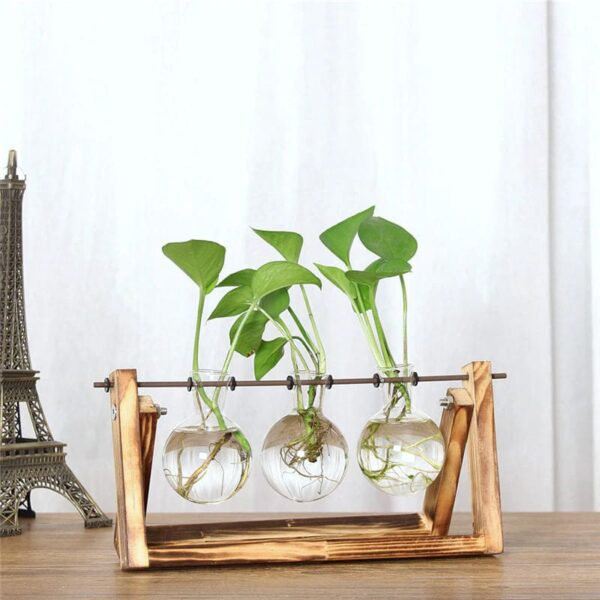 florero madera y vidrio 1