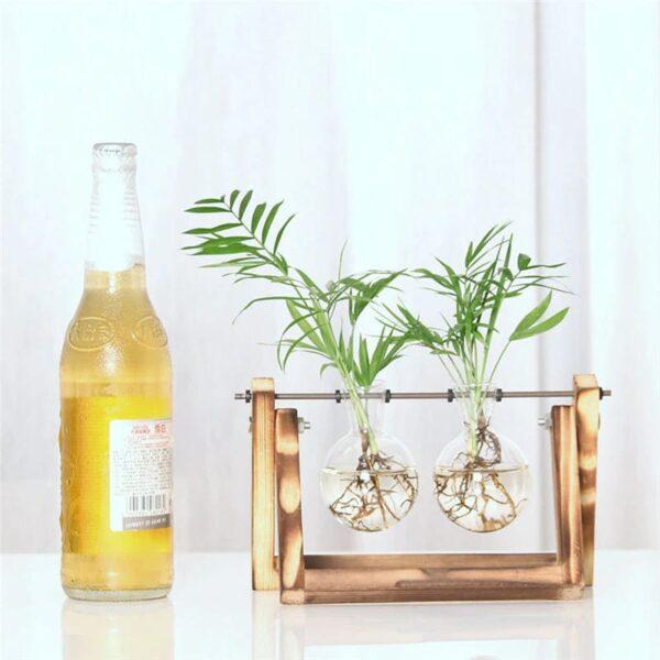 florero vintage madera y vidrio 3