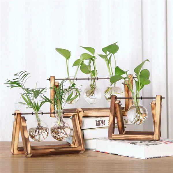 florero madera y vidrio